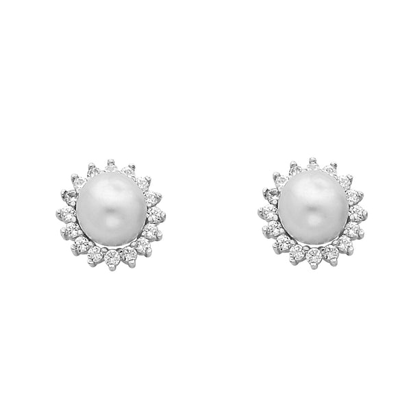 14KW 8mm Pearl with CZ Earrings
