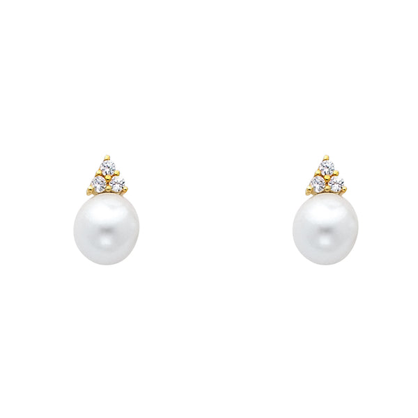 14KY 8mm Pearl with CZ Earrings