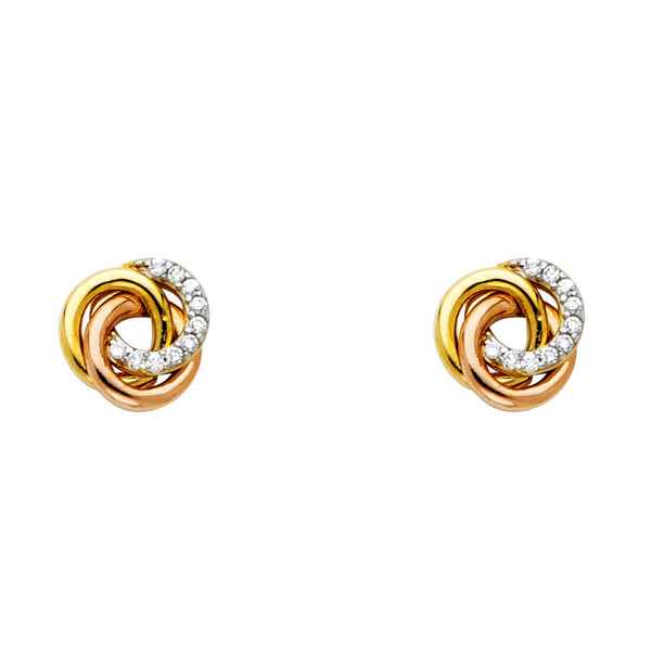 14KY Flower CZ Stud Earrings