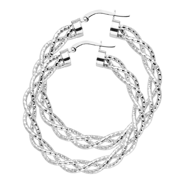 14KW 3mm Twisted Hoop Earrings
