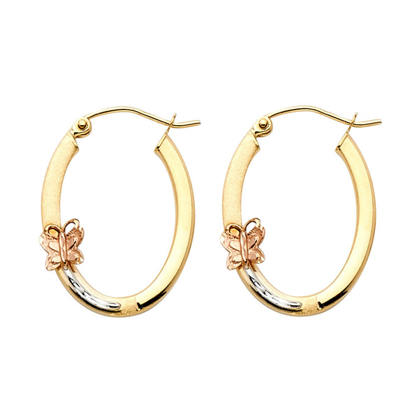 14K Hoop Earrings with Butterfly