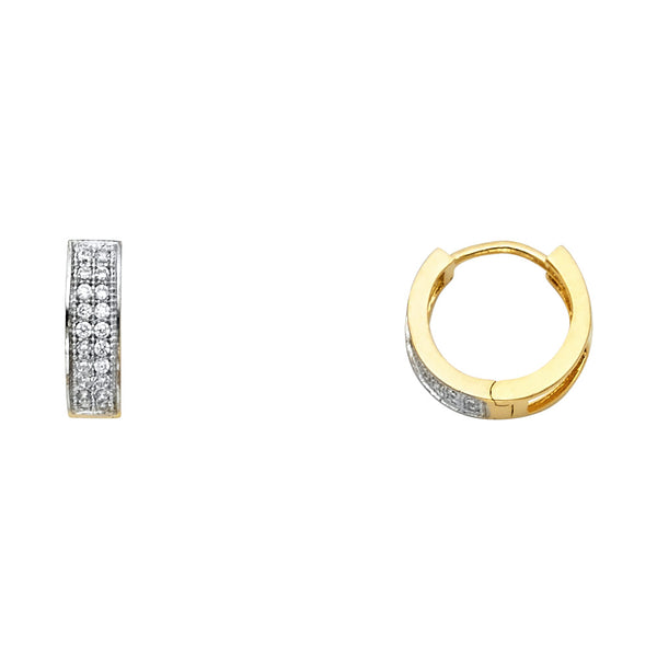 14KY 3mm Two Line CZ Huggies Earrings