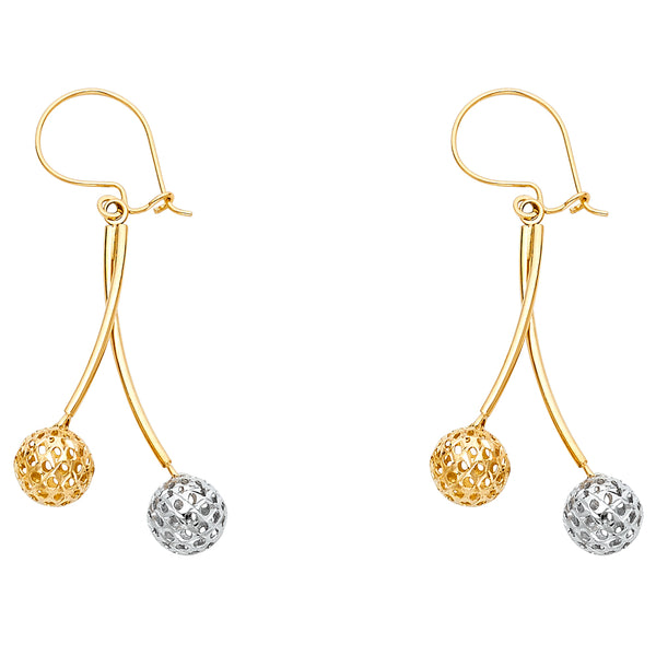 14K 2T Perforated Ball Hanging Earrings