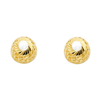 14K 2T 9.5mm DC Half Ball Earrings W/PB