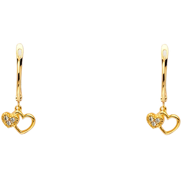 14KY CZ 2 Heart Hanging Earrings
