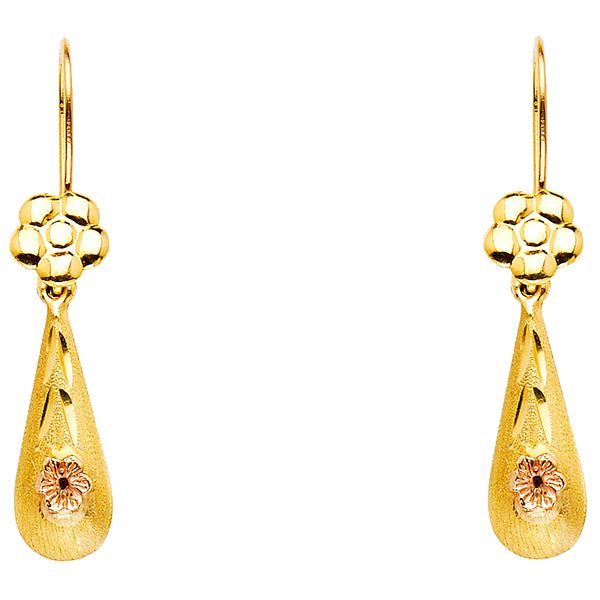 14K 2T Hollow Flower Teardrop Hanging Earrings