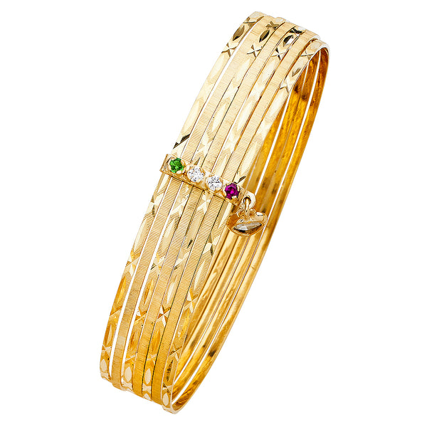 14K SEMANARIO 7DAYS BANGLE WITH CZ