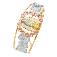 14K Our Lady of Guadalupe Cuff Bangle