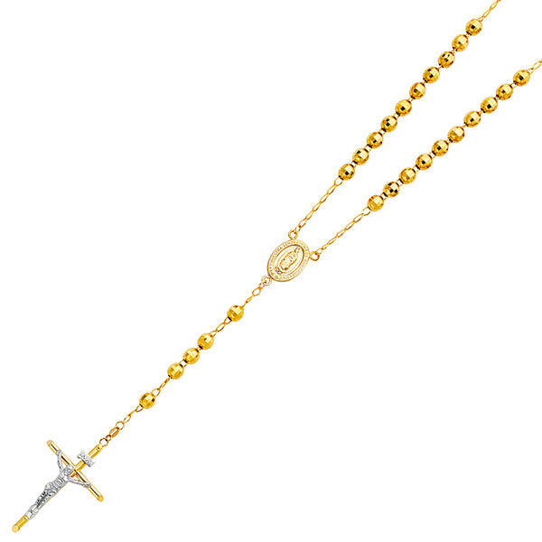 14K GOLD 6MM DISCO BALL ROSARY NECKLACE