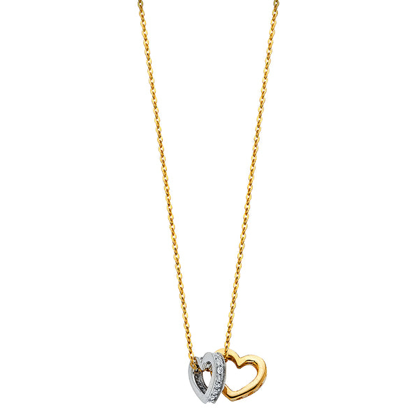 14K CZ DOUBLE HEART NECKLACE