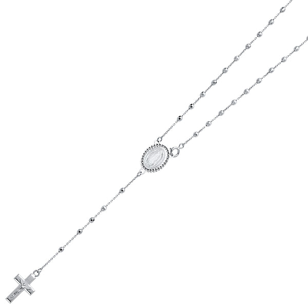14K WHITE GOLD DISCO BALL ROSARY NECKLACE