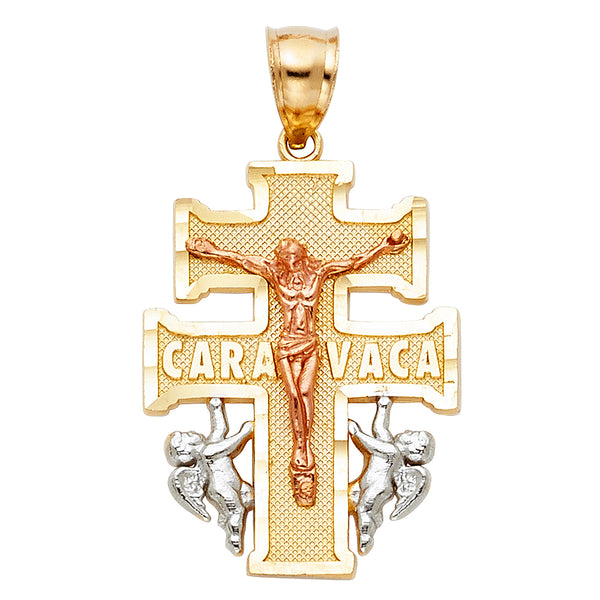 14K Religious Cross of Caravaca Pendant