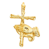 14K Religious Praying Hand with Cross Pendant