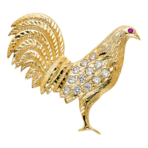14K CZ Rooster Pendant