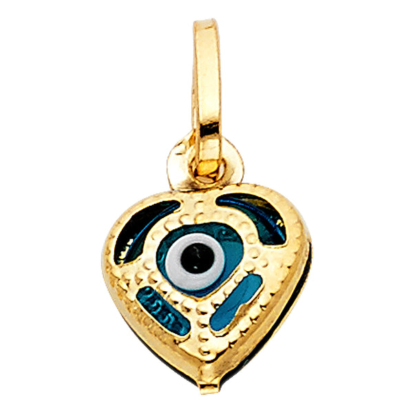 14K Evil Eye Heart Pendant