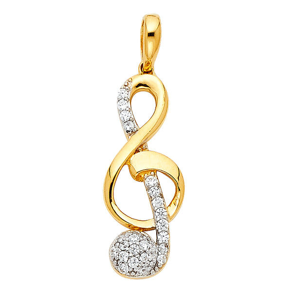 14K CZ The Treble Clef Pendant