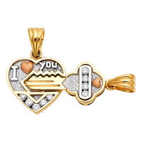 14K CZ Heart & Key Pendant Set
