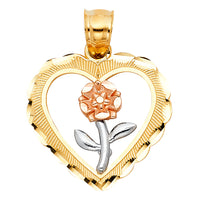 14K Heart with Rose Pendant
