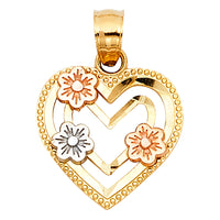 14K Heart with Flower Pendant