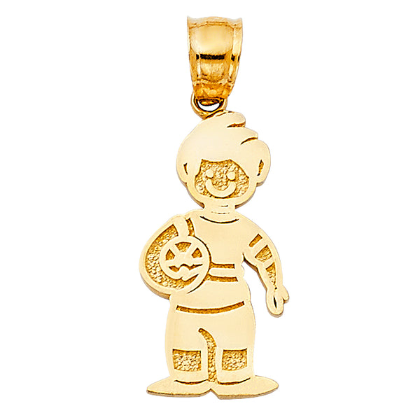 14K Boy with Ball Pendant