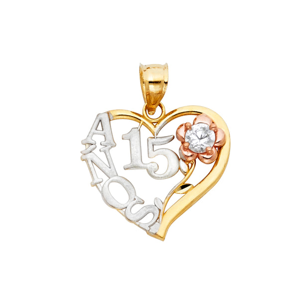 14K 15 YEARS HEART PENDANT