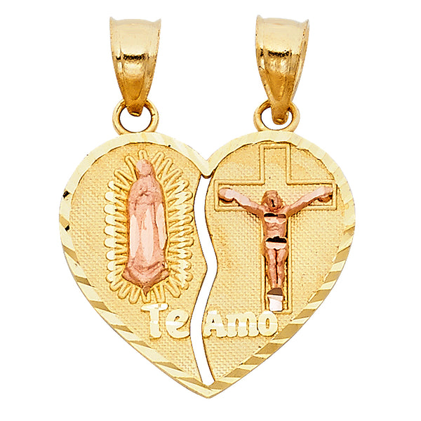 14KT GUADALUPE BREAKABLE HEART PENDANT