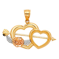 14K Cupid Arrow Double Heart Pendant
