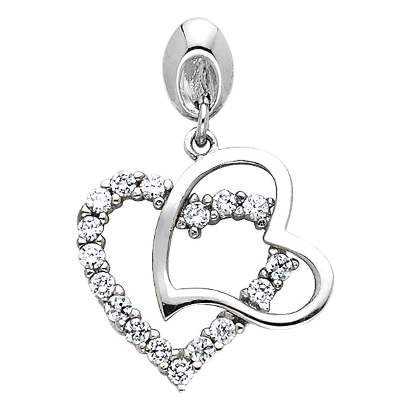 14K Interlocking Hearts CZ Pendant