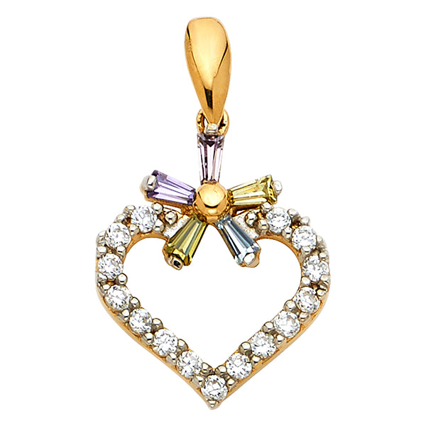 14K Heart with Multi-Color CZ Pendant