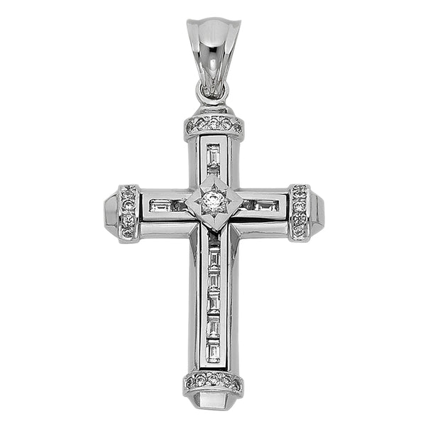 14K WHITE GOLD CZ FANCY CROSS PENDANT