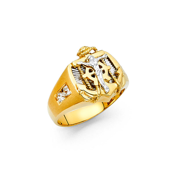 14K Anchor Mens Ring