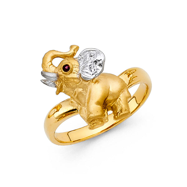 14K CZ FANCY ELEPHANT RING