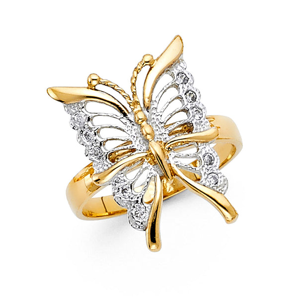 14K CZ FANCY BUTTERFLY RING