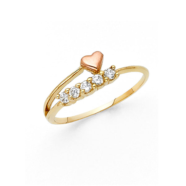 14K CZ FANCY HEART RING