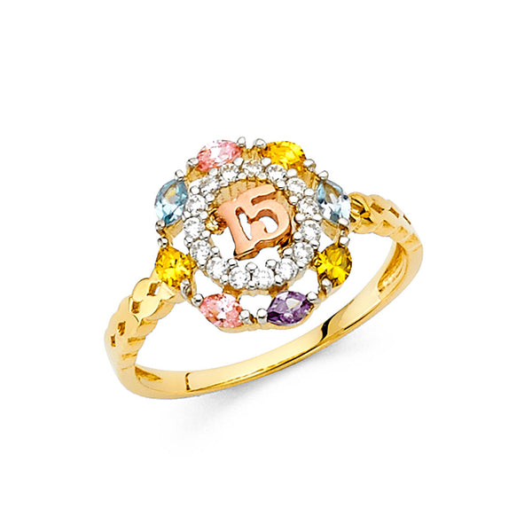 14K CZ 15YEARS RING