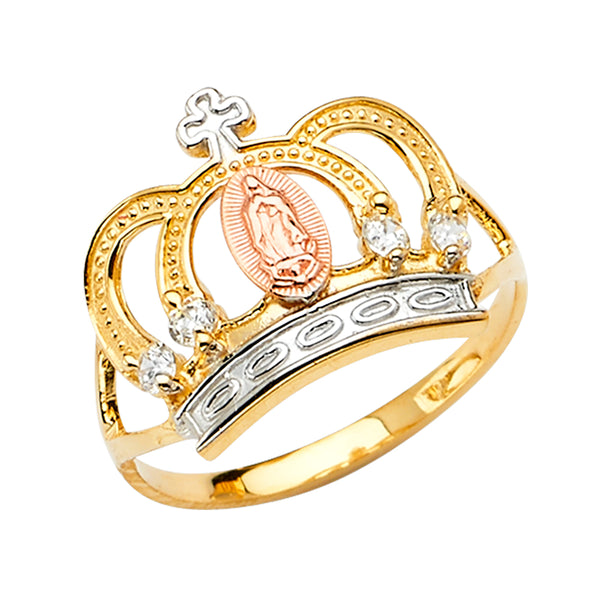 14K GUADALUPE CROWN CZ RING