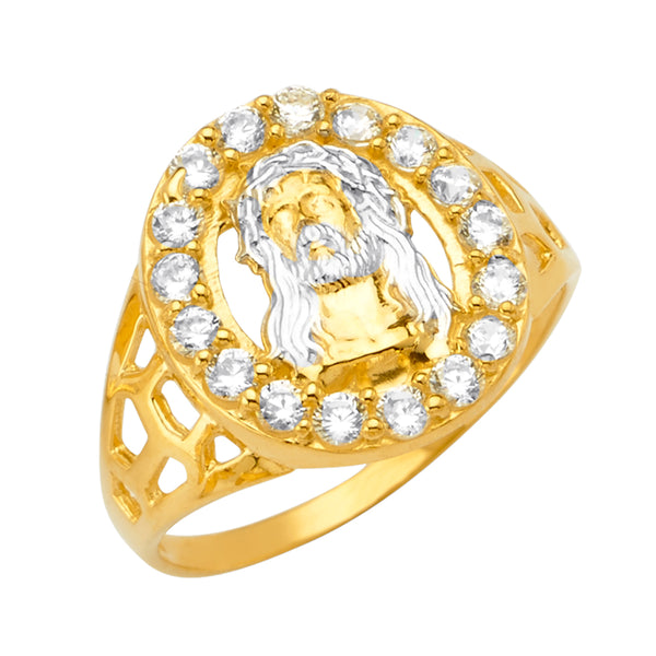 14K Jesus Men's CZ Ring