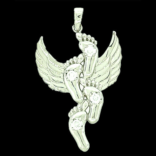 Angel Wings Pendant Micro Pave 925 Sterling Silver Rhodium Plating with Cubic Zirconia