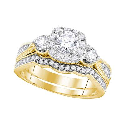 DIAMOND BRIDAL WEDDING RING SET 1 CTTW (CERTIFIED)