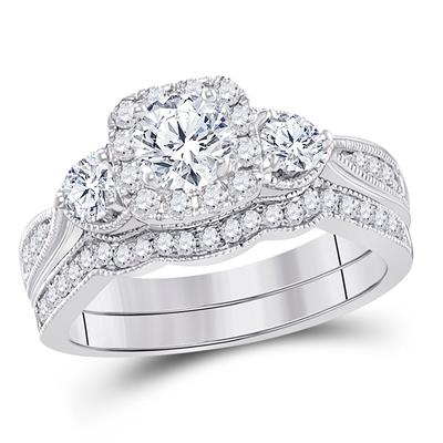 14K WHITE GOLD ROUND DIAMOND BRIDAL WEDDING RING SET 1 CTTW (CERTIFIED)