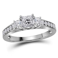 14K WHITE GOLD PRINCESS DIAMOND 3-STONE BRIDAL ENGAGEMENT RING 1 CTTW (CERTIFIED)