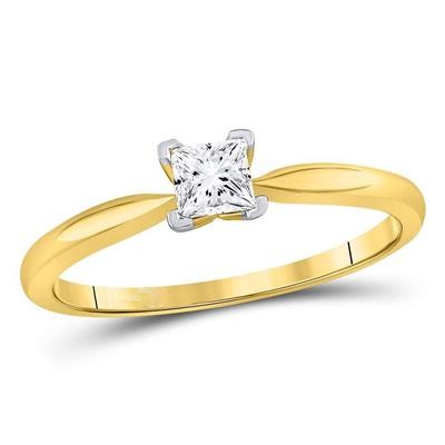 14K YELLOW GOLD PRINCESS DIAMOND SOLITAIRE SUPREME BRIDAL RING 1/3 CTTW (CERTIFIED)