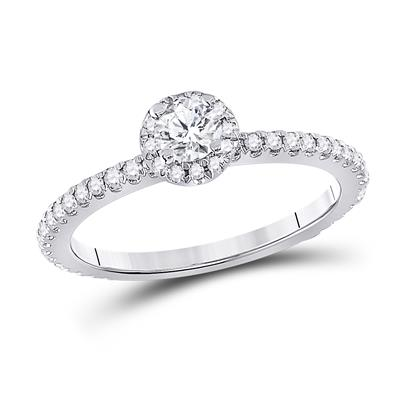 14K WHITE GOLD ROUND DIAMOND HALO BRIDAL ENGAGEMENT RING 1/2 CTTW (CERTIFIED)