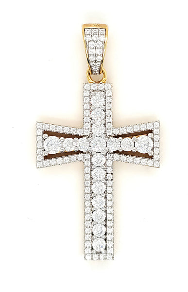 Cross Men's Pendant Micro Pave 925 Sterling Silver 14K Yellow Gold Plating with Cubic Zirconia