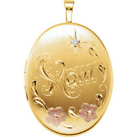 Sterling Silver Plated with 14K Yellow .01 CTW Diamond Mom Locket 26 x 20mm