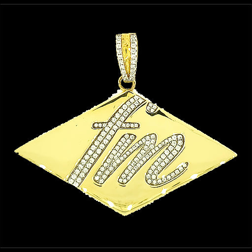 FM Micro Pave Cubic Zirconia Silver Pendant with 14k Gold Plating