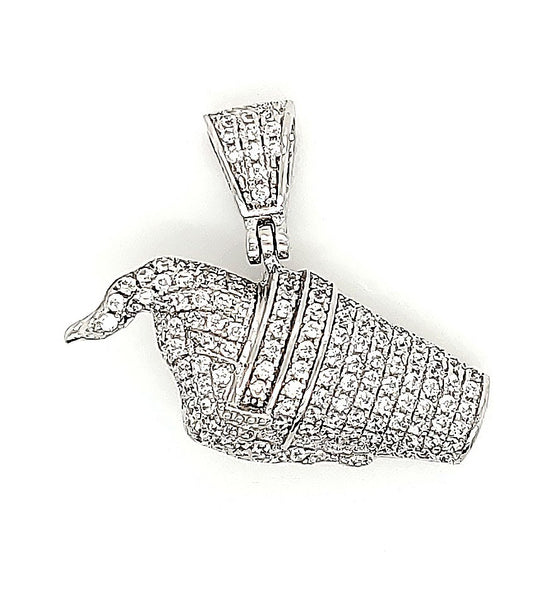 Ice Cream Micro Pave Cubic Zirconia Silver Pendant with Rhodium Plating