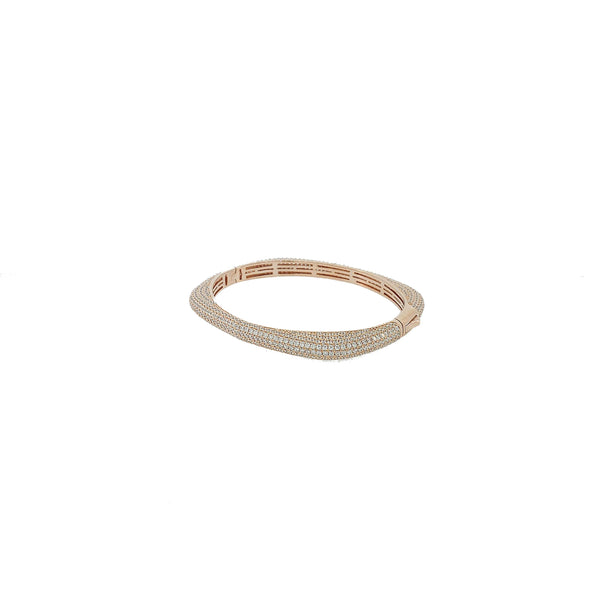 Micro Pave 925 Sterling Silver Bangle 14K Rose Gold Plating with Cubic Zirconia