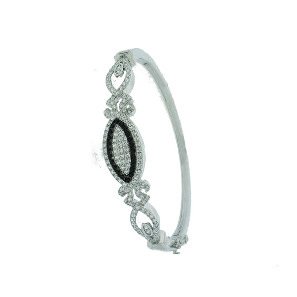 Micro Pave 925 Sterling Silver Bangle Rhodium Plating with Black and White Cubic Zirconia