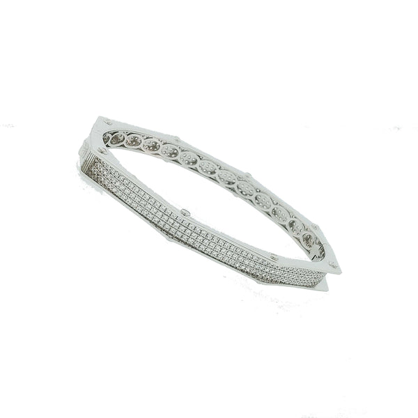 Micro Pave 925 Sterling Silver Bangle Rhodium Plating with Cubic Zirconia